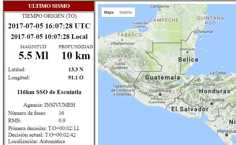 El sismo de 5.5 grados en la escala de Richter es el mas fuerte reportado hoy por el Insivumeh. (Foto Prensa Libre: Conred)