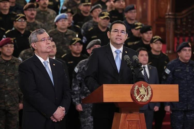 El presidente Jimmy Morales anuncia la no renovación de la Cicig a partir de septiembre de 2019. (Foto Prensa Libre: Hemeroteca PL)