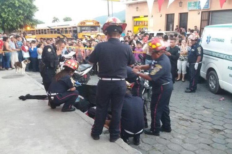 Lugar donde se registró el ataque, en Jocotenango. (Foto Prensa Libre: Renato Melgar).