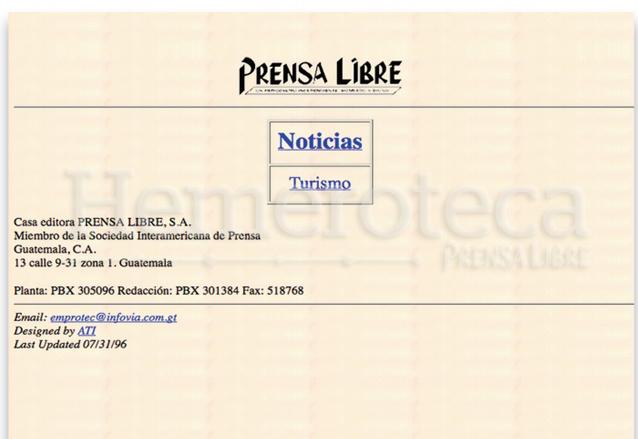 En 1996 nace el sitio web de Prensa Libre: prensalibre.com (Foto: Hemeroteca PL)