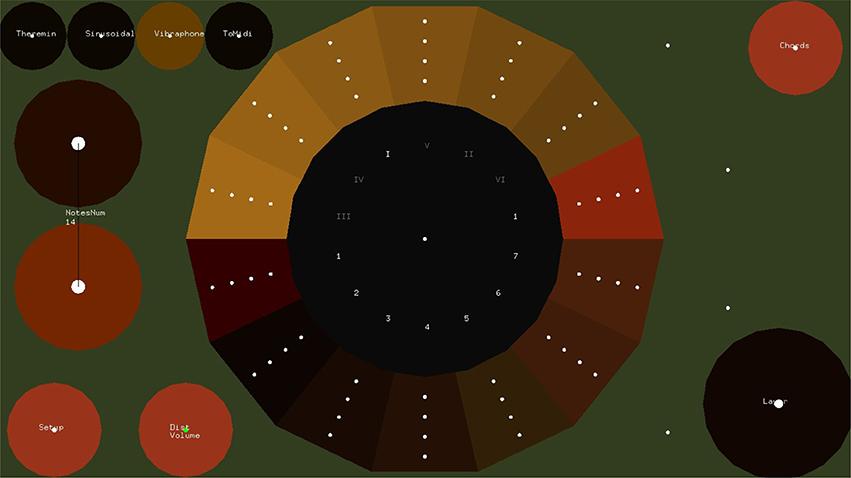 Control de los botones para crear música en el EyeHarp (Foto Prensa Libre, tomada de Frontiers of Psychology)
