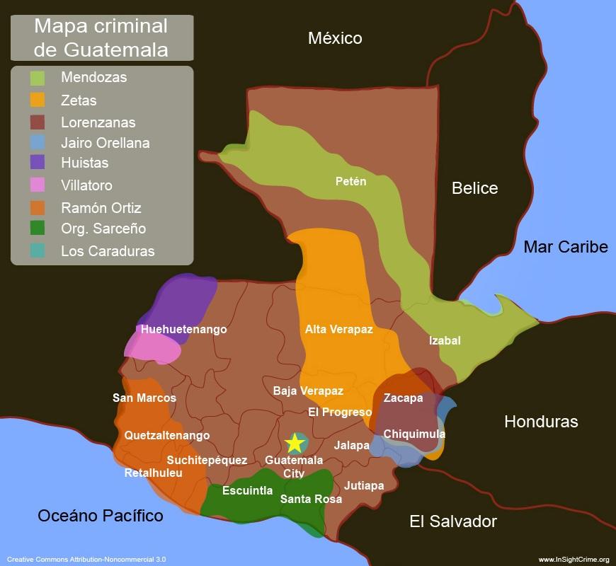 Este sería el mapa del narcotráfico en Guatemala según la revista Insightcrime. (Foto Prensa Libre: Insightcrime)