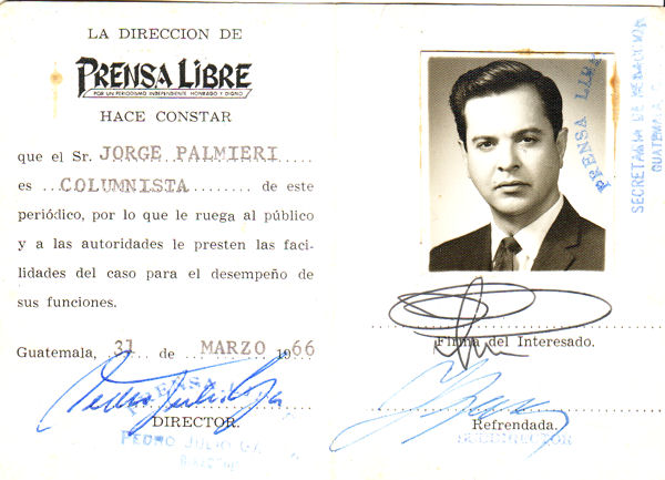 Carnet de periodista de Jorge Palmieri en su etapa en Prensa Libre (Foto Prensa Libre: jorgepalmieri.com).