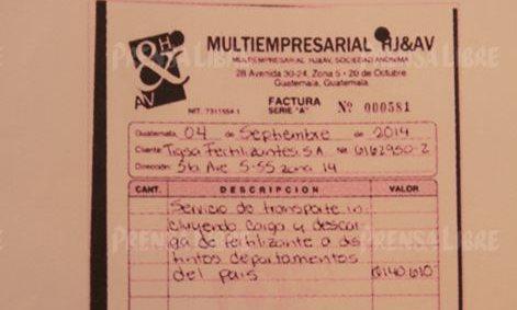 Esta es una de las 32 facturas y documentos de empresas vinculadas a Víctor Hugo Hernández, excontador de Juan Carlos Monzón.