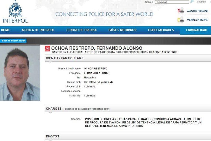 La alerta que Ochoa Restrepo tiene en Interpol. (Foto Prensa Libre)