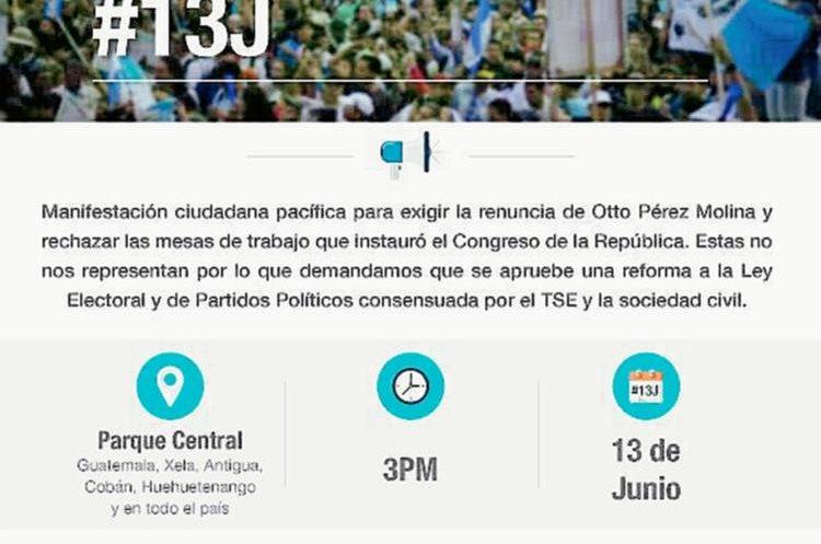 La convocatoria para el próximo sábado es para pedir la renuncia del mandatario. (Foto Prensa Libre: Facebook).