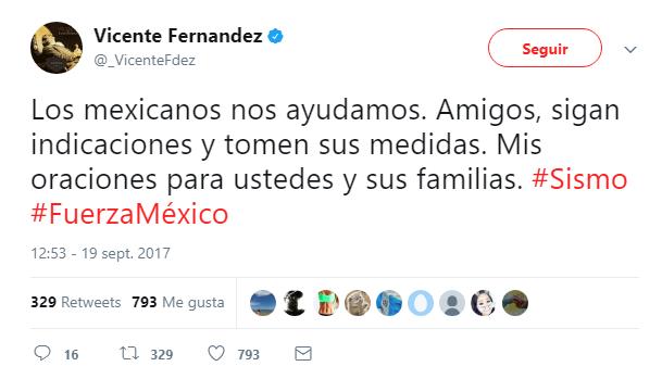El cantante Vicente Fernández fue una de las personalidades que difundió un mensaje a través de sus redes sociales (Foto Prensa Libre: Twitter).
