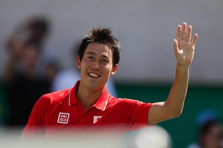 Nishikori celebra luego de superar a Ramos en primera ronda. (Foto Prensa Libre: AP)
