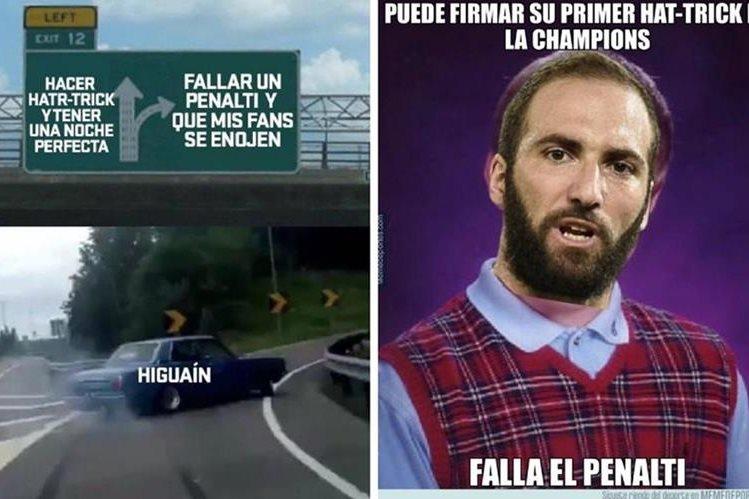 El argentino Gonzalo Higuaín fue el blanco de las burlas en los memes por  haber fallado