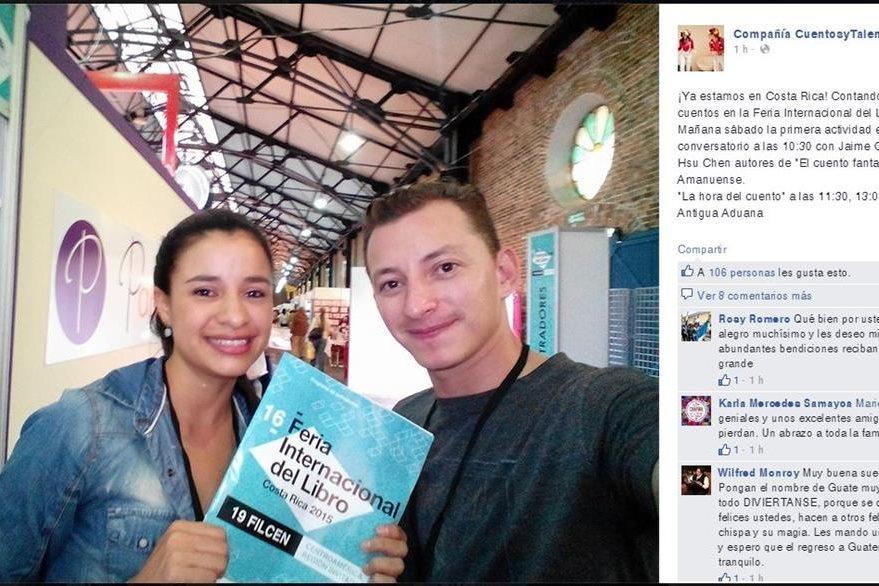 La compañía Cuentos y Talentos, de Guatemala compartió en su perfil de Facebook su llegada a la Feria del Libro. (Foto Prensa Libre: FB Cuentos y Talentos).