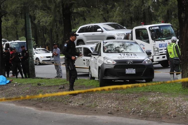 El taxi quedó en uno de los arriates del bulevar Vista Hermosa. (Foto Prensa Libre: Érick Ávila)