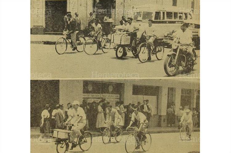 Situaciones como las que muestra la gráfica dieron origen a la medida que restringía el tránsito de bicicletas y carretas por el centro de la ciudad, 25/4/1956. (Foto: Hemeroteca PL)