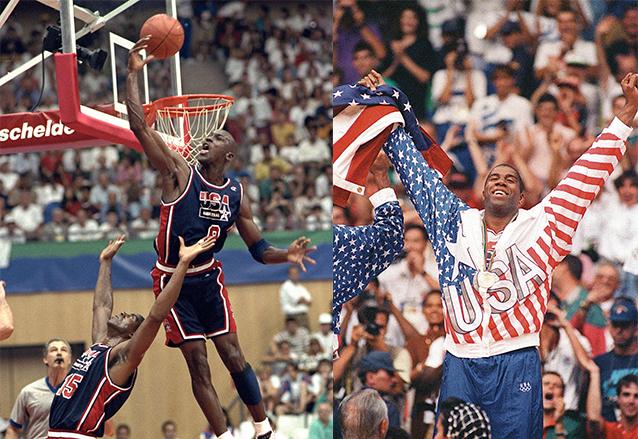 """Michael Jordan y Earvin """"Magic"""" Johnson fueron figuras destacadas del denominado """"Dream Team"""", selección de Baloncesto de EE. UU. que ganó la medalla de oro en Barcelona 1992. (Fotos: AP y EFE)"""