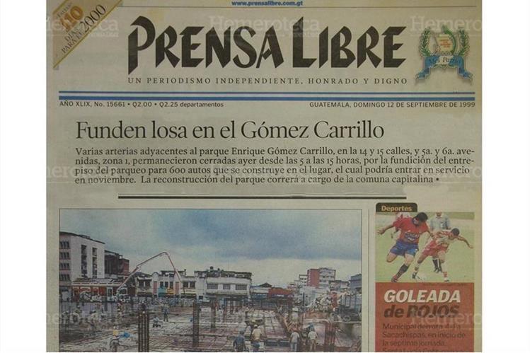 Portada del 12/9/1999 donde se informa de la inauguración del remodelado parque Gómez Carrillo. (Foto: Hemeroteca PL)