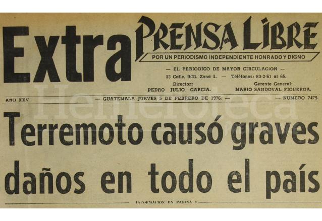 Titular de Prensa Libre del 5 de febrero de 1976 anunciando la tragedia telúrica. (Foto: Hemeroteca PL)