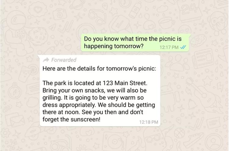 Así se verá la notificación que informará sobre los mensajes reenviados (Foto Prensa Libre: WhatsApp).