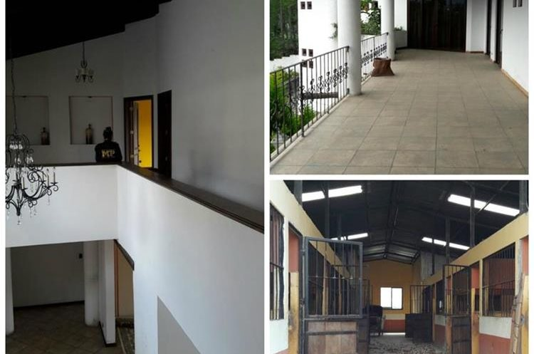 La casa patronal por dentro y el área de las caballerizas de la finca expropiada a Luis Meléndez. (Foto Prensa Libre: MP)