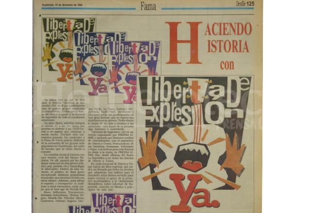 Una de las varias notas periodisticas que se le dedicó al concierto Libertad de Expresión ¡Ya! en 1994. (Foto: Hemeroteca PL)