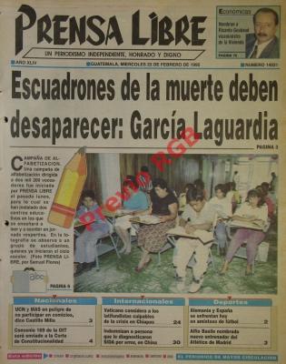 El tema de los escuadrones de la muerte fue titular de portada el 22 de febrero de 1995. Foto: Hemeroteca PL