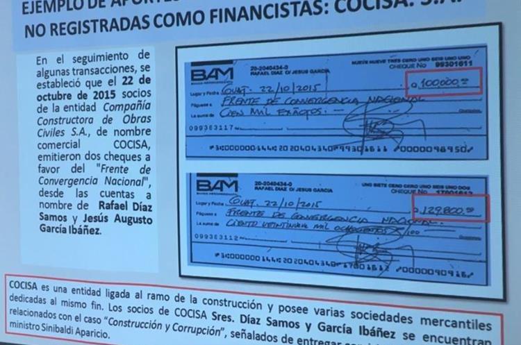 Dos cheques depositados a cuentas de manera ilícita. (Foto Prensa Libre: MP)