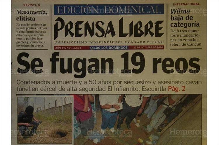 Portada del 23/10/2005 donde se informaba de la fuga de reos por medio de un túnel. (Foto: Hemeroteca PL)