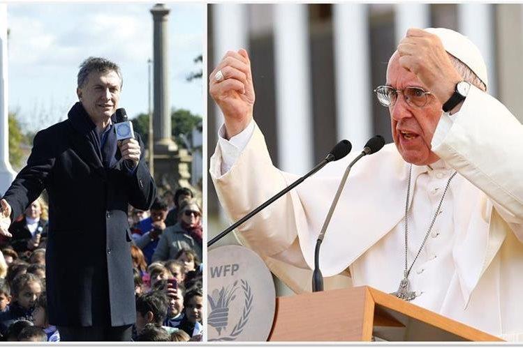 Surge nueva discordia entre Mauricio Macri, presidente de Argentina (izq.), y el papa Francisco. (Fotos Prensa Libre: EFE/AFP).