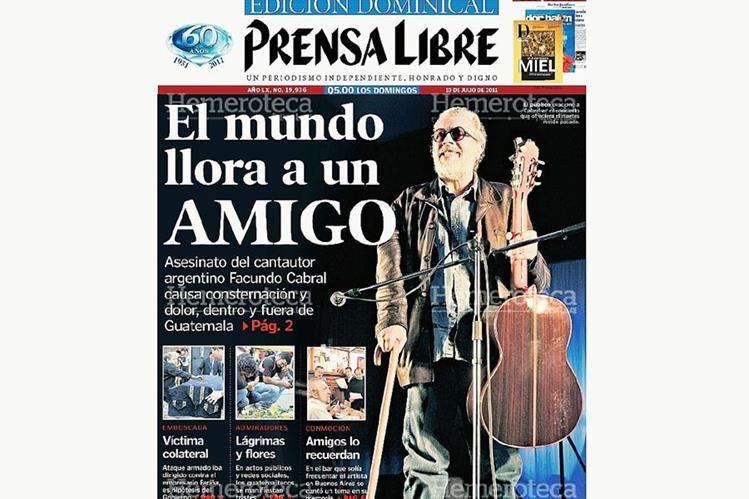 Portada del 10/07/2011 anunciando la muerte de Cabral. (Foto: Hemeroteca PL)