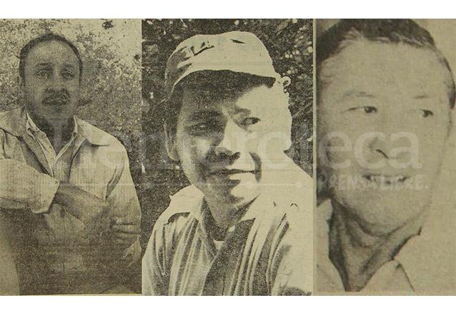De izquierda a derecha, Carlos Paz Tejada, Marco Antonio Yon Sosa y Arturo Chur del Cid, oficiales alzados. (Foto: Hemeroteca PL)