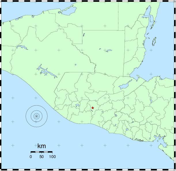 Epicentro del sismo de este martes en Chiapas, México. Foto Prensa Libre: Insivumeh.
