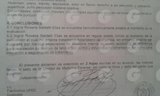 Informe del Inacif respecto a la salud de Baldetti. (Foto Prensa Libre: Guatevisión)
