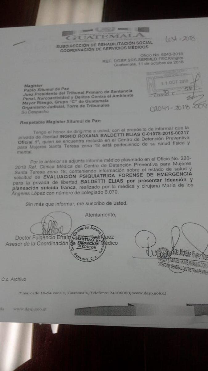 El informe de Presidios acerca de la tendencia suicida de Baldetti. (Foto Prensa Libre: Cortesía)