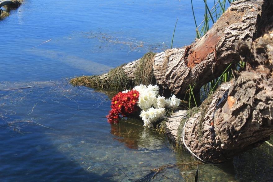 Ramo de flores localizado cerca del lugar del hallazgo en el Lago de Atitlán.  (Foto Prensa Libre: Ángel Julajuj).