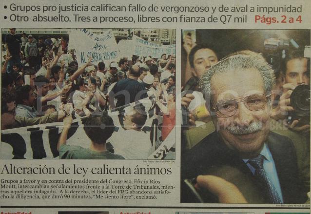 Detalle de la portada de Prensa Libre del 25 de abril de 2001 informando sobre la absolución de Ríos Montt sobre la alteración a la ley de bebidas.  (Foto: Hemeroteca PL)