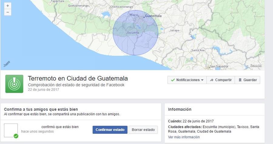Facebook activa la herramienta Safety check tras temblor en Guatemala. (Foto Prensa Libre: Facebook)