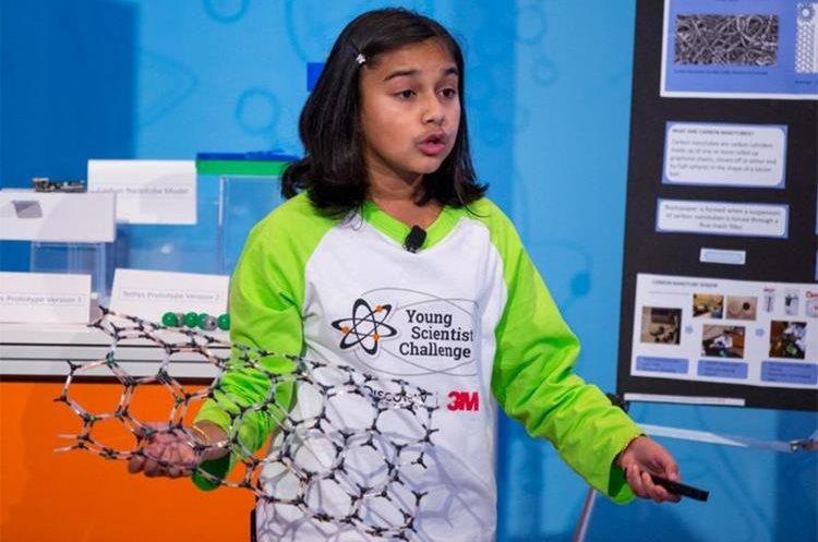 Gitanjali quisiera poder reducir el tamaño de sus nanotubos hasta que puedan caber en un grifo (Foto: Andy King/Cortesía de Discovery Education 3M Young Scientist Challenge). (Andy King/Cortesía de Discovery Education 3M Young).