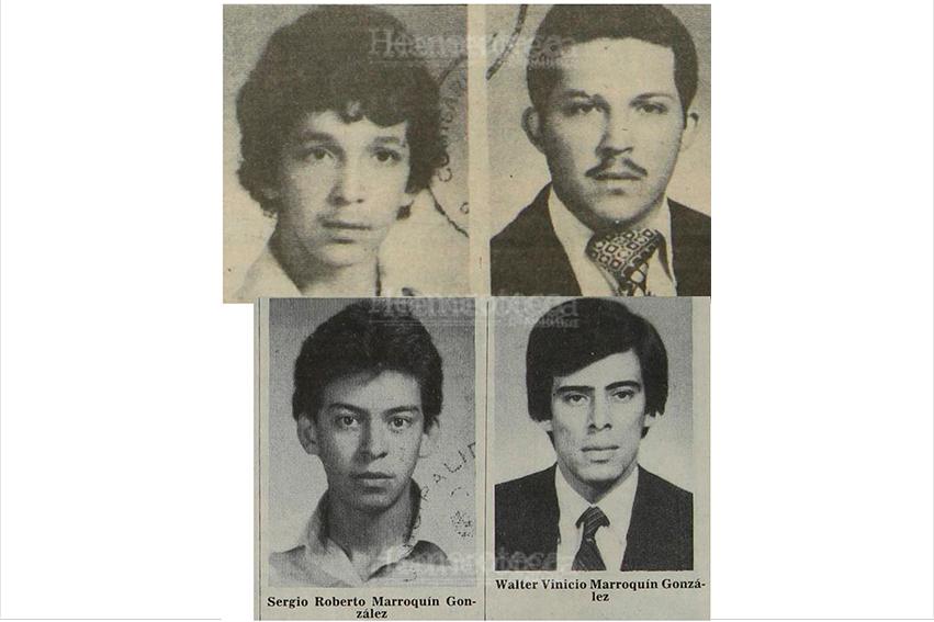 Los hermanos Rony Alfredo y Mario Ramiro Martínez Gonzalez, fueron sentenciados a morir fusilados, (abajo), los hermanos Sergio Roberto  y Walter Vinicio  Marroquin Gonzalez también fueron condenados. 02/02/1983. (Foto Hemeroteca PL)