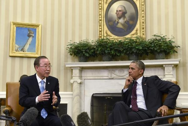 <em>Barack Obama, y Ban Ki-moon se reunieron en la Casa Blanco.(Foto Prensa Libre:AP).</em>