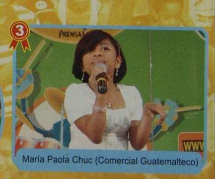 En la final del Talent Kids 2008 Paola Chuc, quien estudiaba en el colegio Comercial Guatemalteco, se quedó con el tercer lugar en la categoría de vocalistas de 10 a 12 años. (Foto Prensa Libre: HemerotecaPL)