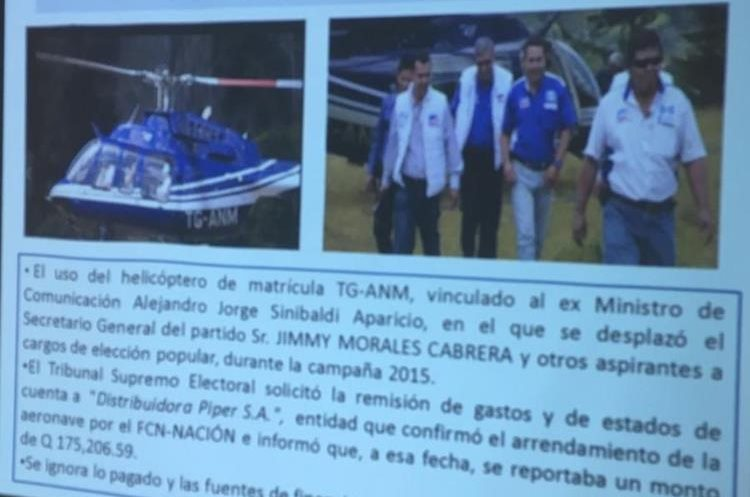 MP vincula helicóptero con Alejandro Sinibaldi. Nave fue usada durante la campaña de FCN Nación en 2015. (Foto Prensa Libre: MP)