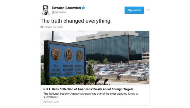 """""""La verdad lo cambió todo"""", declaró Snowden en Twitter. @SNOWDEN/TWITTER"""