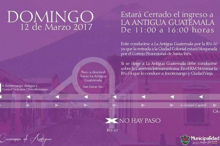 La ruta Nacional 14, entrada en San Miguel Morazán, El Tejar, Chimaltenango, es una opción para ingresar este día a la ciudad colonial. (Foto Prensa Libre: cortesía)