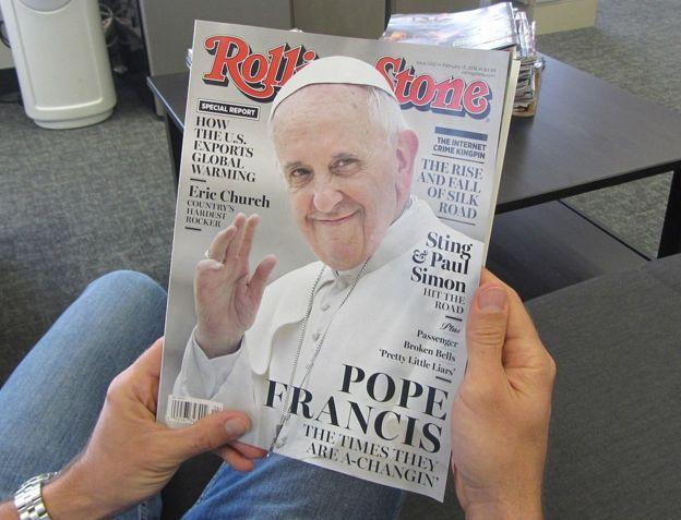 """""""Los tiempos cambian"""", tituló la revista """"Rolling Stone:"""" el Papa es visto como un modernizador. AFP"""