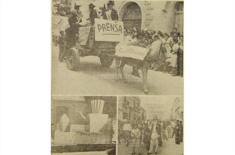 Tres aspectos del animado desfile bufo y las carrozas luego del atentado con una bomba de fósforo que lanzaron al desfile  individuos no identificados. Foto del 24/3/1956. (Foto: Hemeroteca PL)