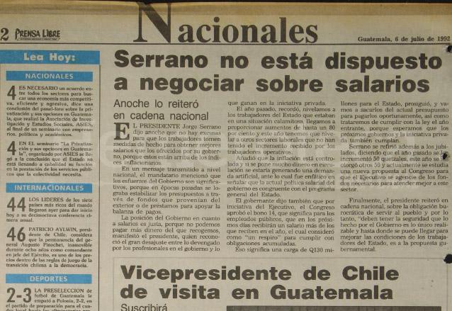Nota periodística del 6 de julio de 1992 donde se da a conocer la postura del Presidente Serrano respecto del Bono 14. (Foto: Hemeroteca PL)