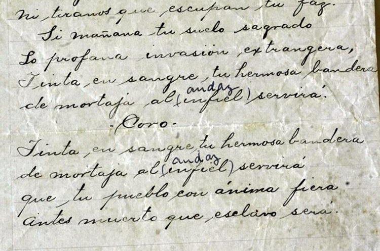 Letra original del Himno Nacional de Guatemala compuesta por José Joaquín Palma. (Foto: Hemeroteca PL)