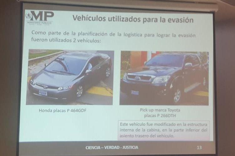 Vehículos utilizados para la fuga de La Patrona. (Foto Prensa Libre: MP)