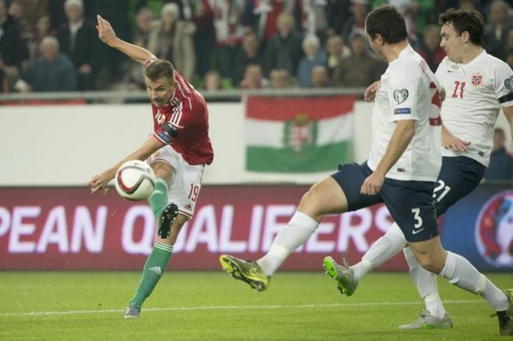 Priskin, de Hungría, anota para Hungría este domingo. (Foto Prensa Libre: EFE)