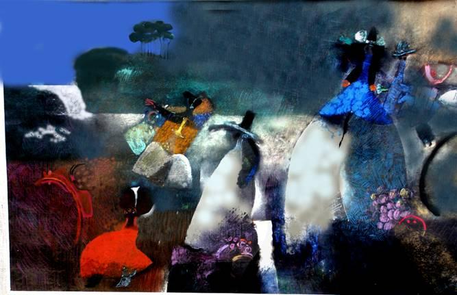 Elmar Rojas se caracterizó por su estilo en el que fusionó elementos fantásticos con el mundo abstracto.
