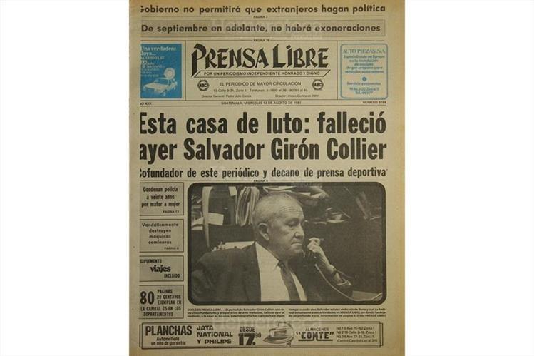 Portada del 12/08/1981 informando sobre el deceso de Girón Collier. (Foto: Hemeroteca PL)