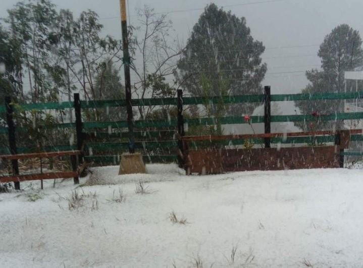 Una de las áreas que quedó cubierta de granizo en la comunidad Tojchoj Grande, Tacaná. (Foto Prensa Libre: Carlos Barrios).